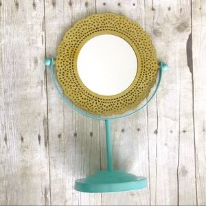 Vanity table top Mirror Teal and sparkle gold